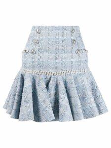 Balmain flounced tweed skirt - Blue