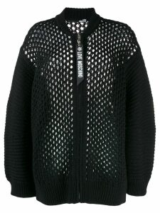 Love Moschino loose knit zip cardigan - Black