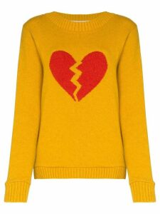 The Elder Statesman broken heart cashmere jumper - Yellow