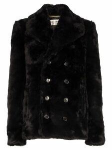 Saint Laurent faux fur peacoat - Black