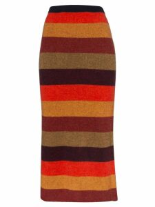 The Elder Statesman striped cashmere knit midi skirt - Multicoloured