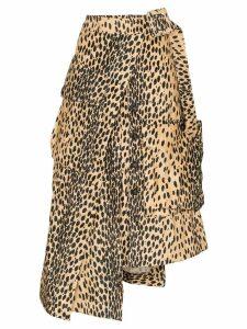 Jacquemus leopard print asymmetric midi skirt - Brown