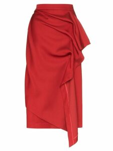 pushBUTTON draped midi skirt - Red