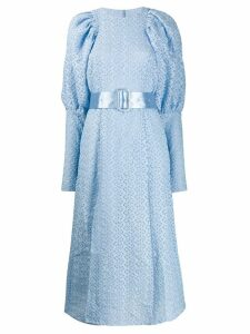 Rotate puffer-sleeve lace dress - Blue