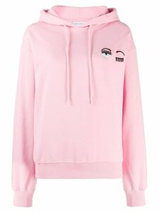 Chiara Ferragni embroidered eyelash hoodie - Pink