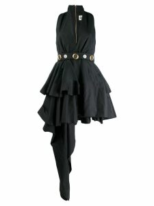 Fausto Puglisi belted asymmetric dress - Black