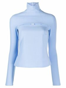 A.W.A.K.E. Mode funnel neck top - Blue