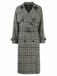 Tagliatore checked trench coat - Black