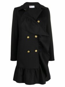 Red Valentino ruffled hem double-breasted coat - Black