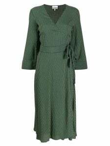 Ganni printed wrap crepe dress - Green