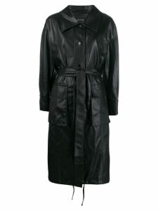 Low Classic belted faux leather trench - Black