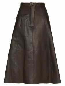 Nili Lotan Lila lizard-effect midi skirt - Brown