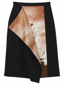 Burberry Ship Print Silk Panel Wool Pencil Skirt - Black