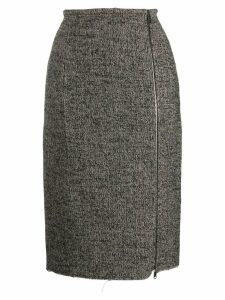Nº21 raw hem zip-up midi-skirt - Black