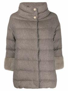 Herno contrast cuffs padded jacket - Neutrals