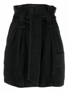 Iro paper-bag waist denim skirt - Black