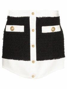 Balmain tweed buttoned mini skirt - Black