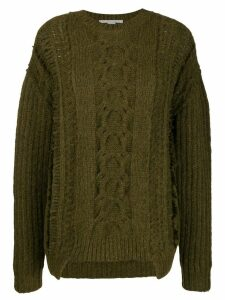 Stella McCartney frayed cable-knit jumper - Green