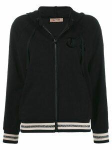 Twin-Set stripe detail zipped hoodie - Black
