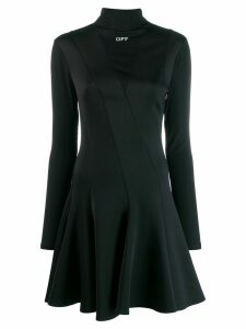 Off-White ribbed panel skater dress - Black
