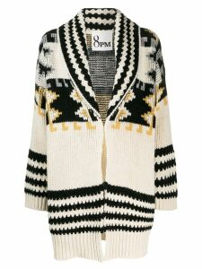 8pm patterned cardi-coat - White