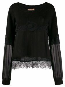 Twin-Set tiered lace jumper - Black