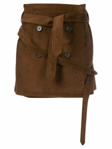 Rokh belted straight skirt - Brown