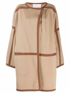 Chloé contrast trims cardi-coat - Brown