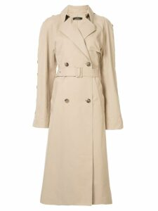 Rokh button sleeve trench coat - Neutrals