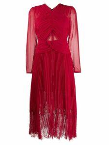 Self-Portrait smocked lace midi dress - Red