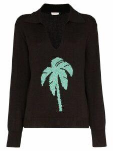 Rixo palm tree intarsia knit jumper - Black