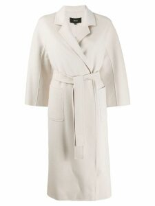 Arma stitch detail wrap coat - Neutrals