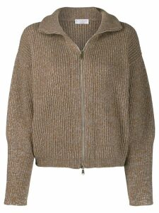 Brunello Cucinelli ribbed zip up cardigan - Brown
