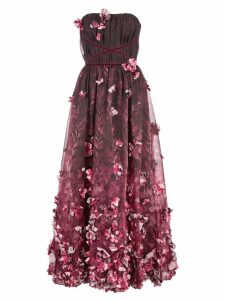 Marchesa Notte 3D draped floral print organza tea length dress -