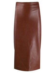 Kiltie leather effect skirt - Brown