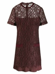 Sandro Paris lace panel short dress - Red