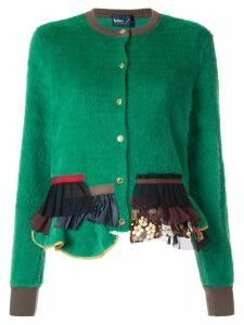 Kolor textured tulle panel cardigan - Green