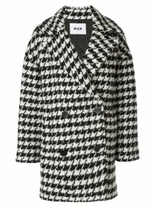 MSGM houndstooth pea coat - Black