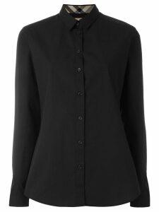Burberry Check Detail Stretch-cotton Shirt - Black