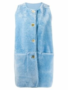 Marni reversible shearling and sheepskin gilet - Blue