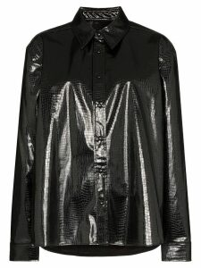 We11done python print collared shirt - Black
