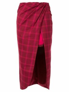 Jonathan Simkhai windowpane front slit skirt - Red