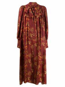Uma Wang neck-tie floral dress - Red