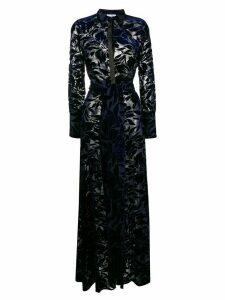 Galvan devoré Winter Jungle dress - Blue