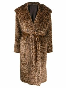 Tagliatore leopard print wrap coat - Brown