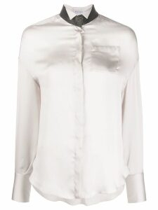 Brunello Cucinelli silk wing tip shirt - Neutrals