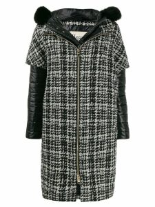 Herno layered houndstooth coat - Black