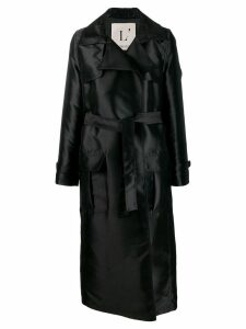 L'Autre Chose long belted trench coat - Black
