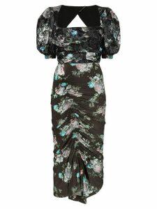 Preen By Thornton Bregazzi Gizzy floral print midi dress - Black