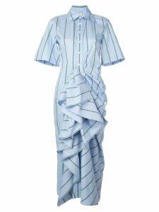 Rosie Assoulin gathered ruffle shirt dress - Blue